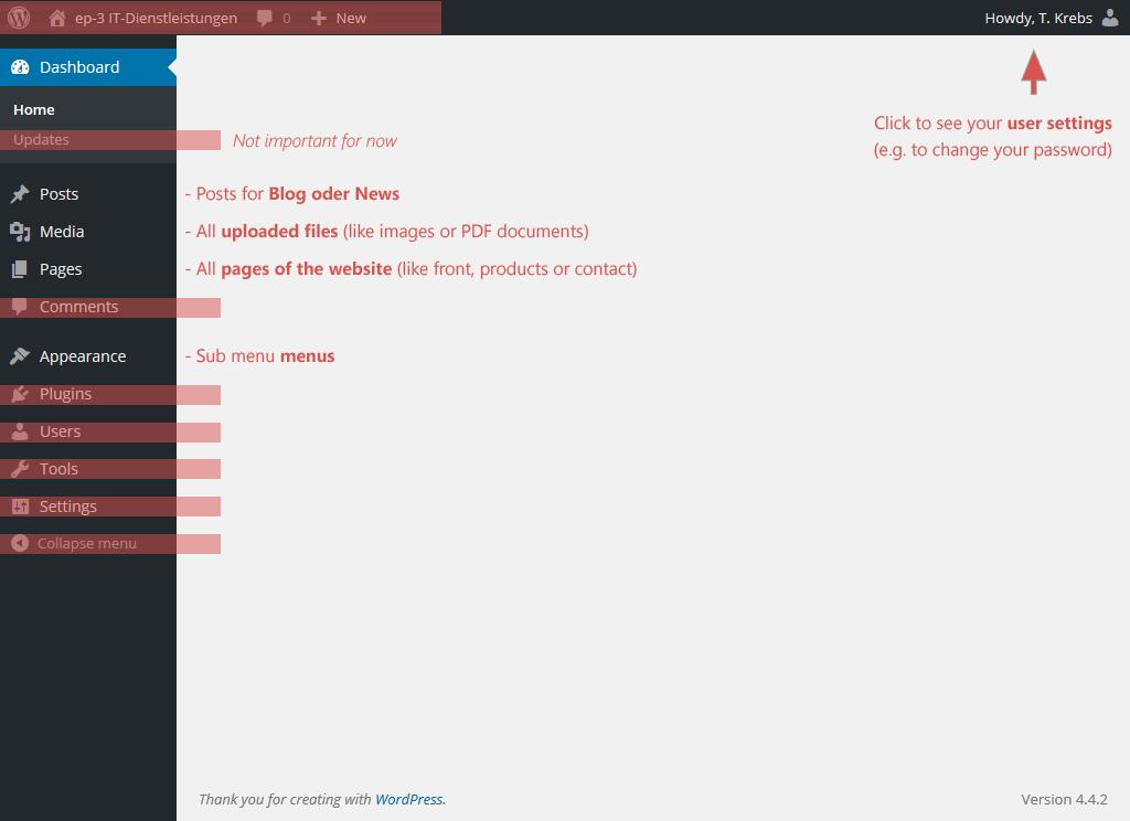 Screenshot of WordPress' backend